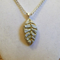 Silver Leaf Necklace, clay, gold, pendant fall designed etched thin autumn one of a kind streaks ooak unique sleek very nice alluminum chain