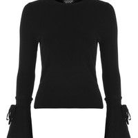 Tie Fluted Sleeve Knitted Top | Topshop