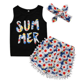 3PCS Toddler Kids Baby Girls Summer Clothes Set Cotton Letter Sleeveless Vest Tops +Flower Short Pants +Headband Outfits 2-7Y