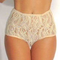 Fearless And Fun Female High Waisted Lace Nude Panties FAF-H720