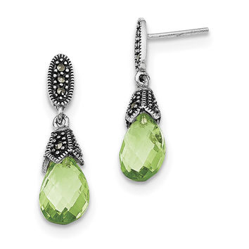 Sterling Silver Marcasite and Green CZ Earrings QE2989