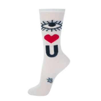 I Heart You Sparkle Sheer Crew Socks in Silver