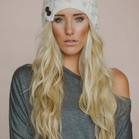 Ivory Laced Beanie