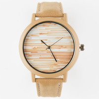Wood Grain Print Watch Brown One Size For Men 25190340001