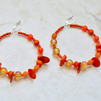 Orange Calypso Earrings, Carnival Earrings,Shell Earrings,  Caribbean Jewelry, Large Hoop Earrings, Ethnic Jewelry