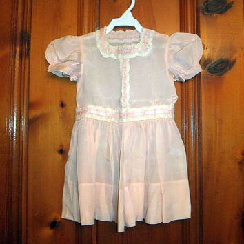 1920s Toddlers Pink Silk Frock Side Snaps Ribbon Lace Antique Baby Dress Vintage Dress