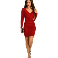 Sale-red Fully Ruched Dress
