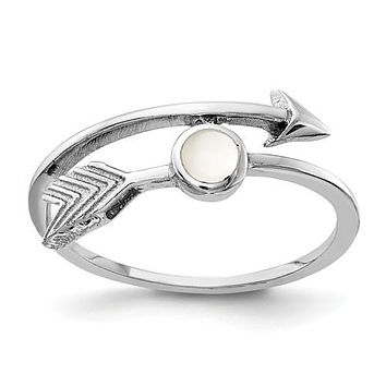 Sterling Silver Mother of Pearl Arrow Ring