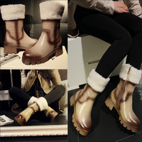 2014 Womens Winter Genuine Leather Platfrom Chunky High Heel Thick Sole White Fur Lined Ankle Mid Calf Boots Tb0120