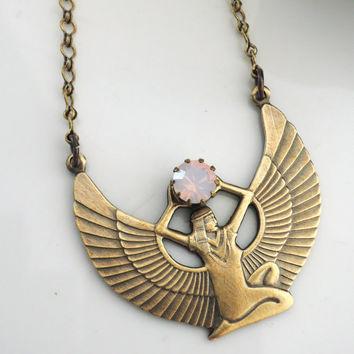 Vintage Necklace - Egyptian Jewelry - Pink Opal Necklace - ISIS Necklace - Cleopatra Necklace - OOAK - Brass jewelry - handmade jewelry