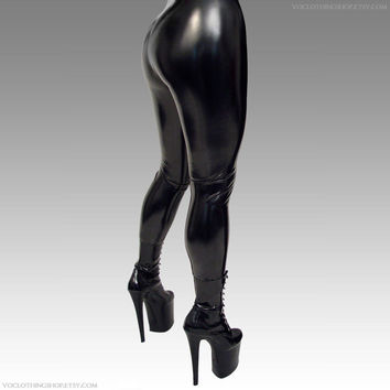 MOLTEN VINYL shiny black coated spandex leggings - made to order - xs s m l xl - free shipping