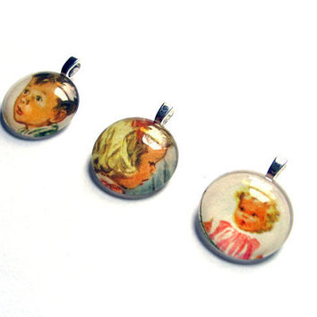 Dick and Jane and Little Sally Color Mini Pendants by SovereignSea