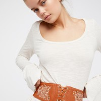 Free People Wild West Embroidered Corset