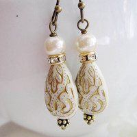 White Lucite Drops, Gold Carved Lucite, Wedding Jewelry, Winter Wedding, Bridesmaid Gifts, White Earrings, Bohemian Drops