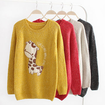 Lovely dots giraffe sweater 4 colors