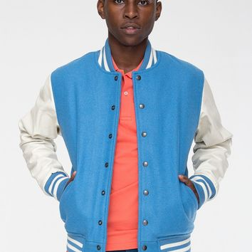 rsawn402 - Wool Club Jacket with Leather Sleeves