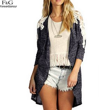 FANALA Cardigan 2017 Sweater For Women Spring Autumn Full Sleeve Lace Patchwork Long Asymmetrical Hem Plus Size Gray Outerwear