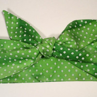 Dolly Headband, Dolly Bow, Tie-Up Hairband, 100% Cotton Batik, Green and White - READY TO SHIP!
