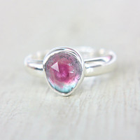 Watermelon Tourmaline Ring Sterling Silver Natural Rose Cut Tourmaline Engagement Gemstone Engagement Ring Size 6,5-7,5 Silversmith