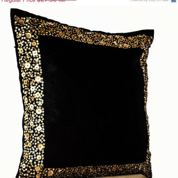 Memorial Day SALE Decorative Throw Pillows - Black cushion with gold sequin boarder - sequin pillow -16X16- Black pillow - gift pillow- Blac