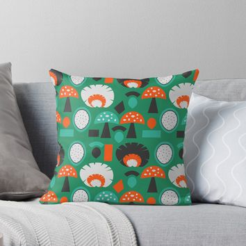 'Funny mushrooms in green' Throw Pillow by cocodes