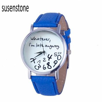10 Colors Hour Causal Watches For Womens Whatever I am Late Anyway Print Leather Alloy Quartz Wrist Watch Clock Montre Femme