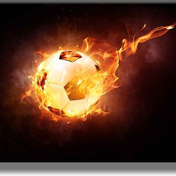 Soccer Ball on Fire Picture on Acrylic , Wall Art decor, Ready to Hang!