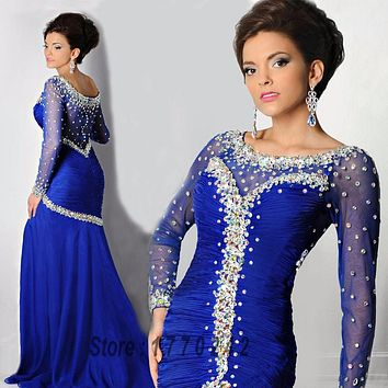Robe De Soriee Royal Blue Crystal Prom Dress Elegant Long Sleeve Mermaid Crystal Long Evening Dresses