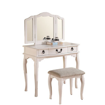 Poundex Bobkona Susana Tri-fold Mirror Vanity Table with Stool Set White