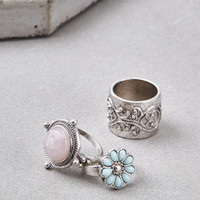 AEO SILVER BOHO RING 3-PACK, Silver