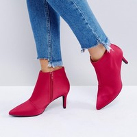 New Look Wide Fit Satin Mid Heeled Boot at asos.com