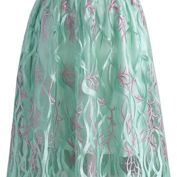 Ocean Illusion Embroidered Mesh Skirt in Green