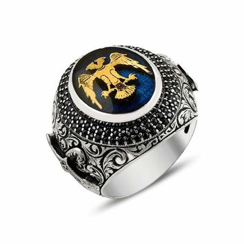 Double headed eagle with enamel silver mens ring