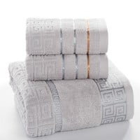 Plaid 100% Cotton Face Hand Bath Towel Set for Adult Bathroom 650g 3pcs/set Towel Sets Freeshipping