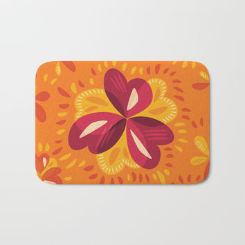 Orange And Pink Clover Abstract Floral Bath Mat by borianagiormova