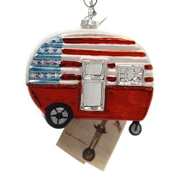 Holiday Ornaments AMERICANA CAMPER Glass Patriotic Lc7047