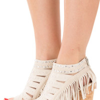 Cream Studded Cut Out Fringe Wedge