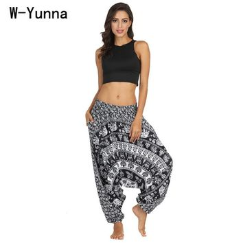 W-Yunna Boho Harem Pants Hit Color Style Cotton Linen Thickness Loose Fashion Pantalon Femme Gothic Streetwear Trousers Women