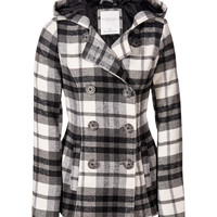 Aeropostale  Hooded Plaid Coat