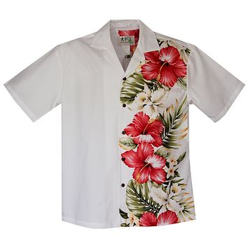 Red Hibiscus White Vertical Border Hawaiian Shirt