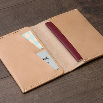 Leather Passport Cover / Passport Wallet / Passport Holder / Personalized Passport Case , Handmade Hand-stitched, Natural Tan