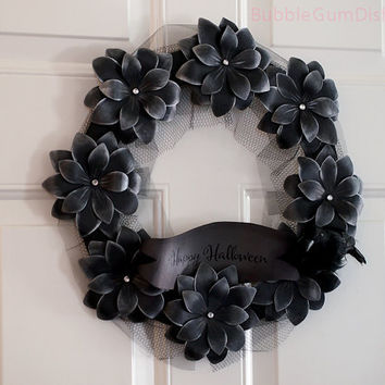 Morticia Halloween Wreath Paper Flower Black Flowers Halloween Decor 12""