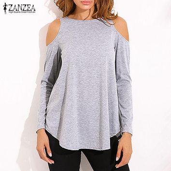 ZANZEA Women Elegant Blusas Tops 2018 Autumn Ladies Sexy Tunic Off Shoulder Long Sleeve Pullover Casual Loose Blouse Shirts