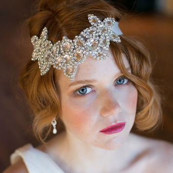 Rhinestone Floral design Headband - Roaring 20s style diamond headband - Great Gatsby