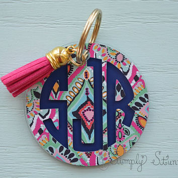 Lilly Pulitzer Monogrammed Keychain, Monogram Key chain, Lilly Pulitzer Inspired Keychain Best friend