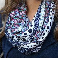 Polka Dot Infinity Scarf, Flower Scarf, Eternity Scarf, Black, Lavender, Pink, Light Blue