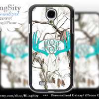 Monogram Galaxy S4 case S5  Aqua Antlers Real Tree Camo White Deer Personalized Browning Samsung Galaxy S3 Case Note 2 3 Cover Country Girl