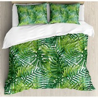Leaf Tropical Exotic Banana Forest Palm Tree Leaves Watercolor Design Duvet Set