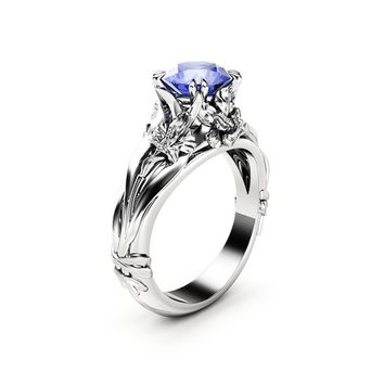 Tanzanite Engagement Ring Solitaire Flower Ring 14K White Gold Anniversary Ring Unique Engagement Ring