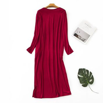 Super comfortable modal long sleep dress women long-sleeved fashion pure color home dress women plus size nightgown